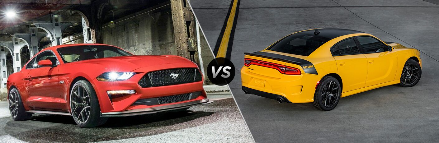 Red 2019 Ford Mustang in a Tunnel vs Yellow 2019 Dodge Charger in a Parking Lot