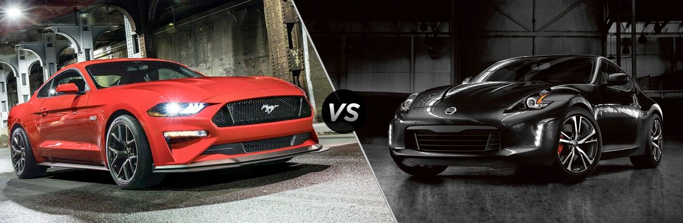 Red 2019 Ford Mustang in a Tunnel vs Black 2019 Nissan 370Z in a Garage