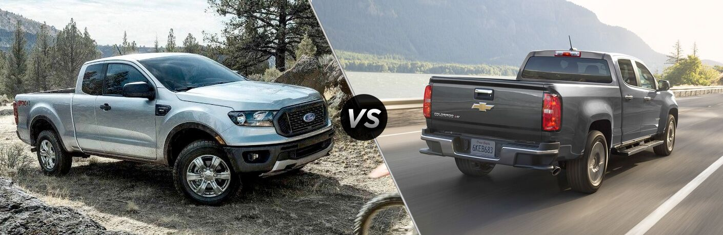 Silver 2019 Ford Ranger on a Trail vs Gray 2019 Chevy Colorado Rear Exterior on a Coast Road