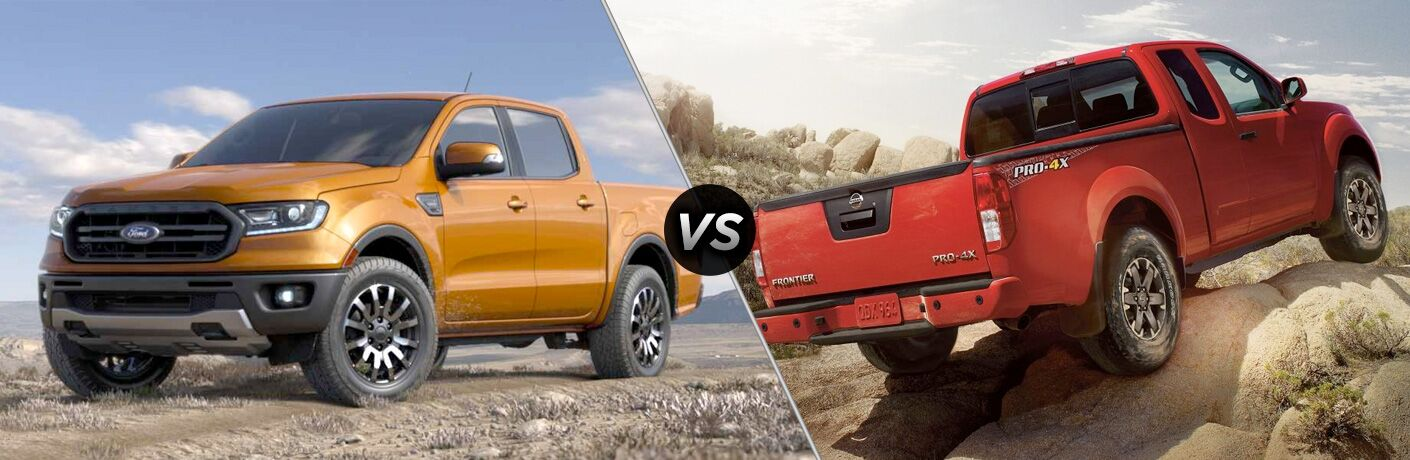 Orange 2019 Ford Ranger on the Trail vs Red 2018 Nissan Frontier on Rocks