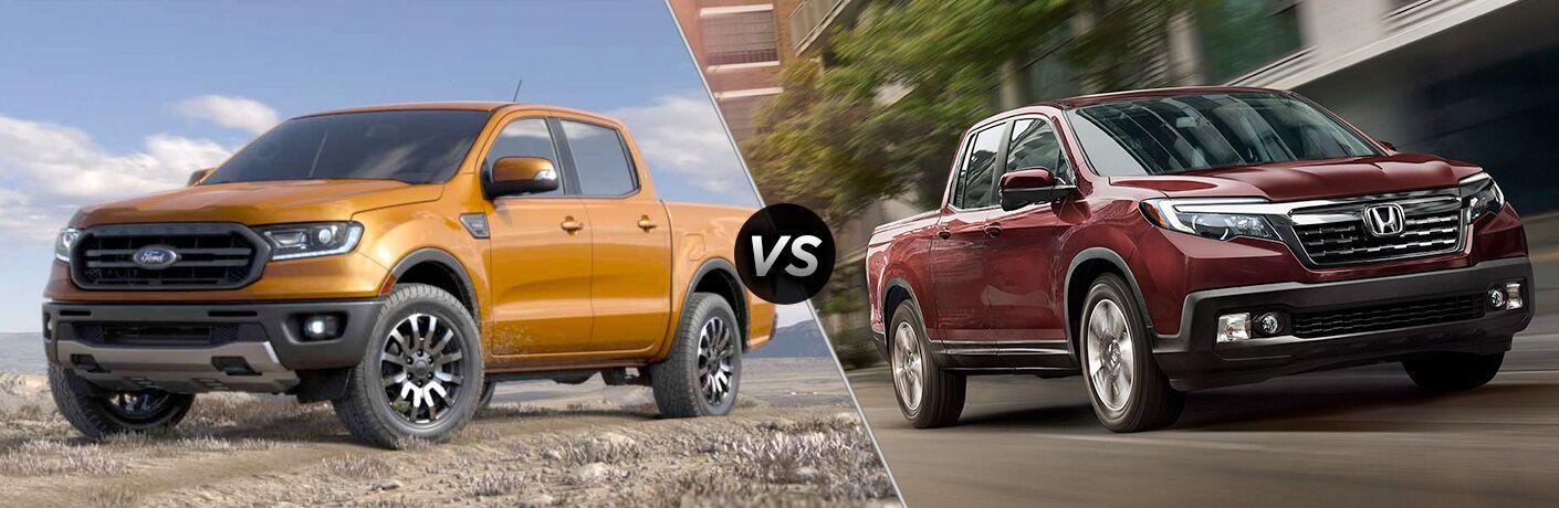 Orange 2019 Ford Ranger on a Trail vs Red 2019 Honda Ridgeline on a City Street