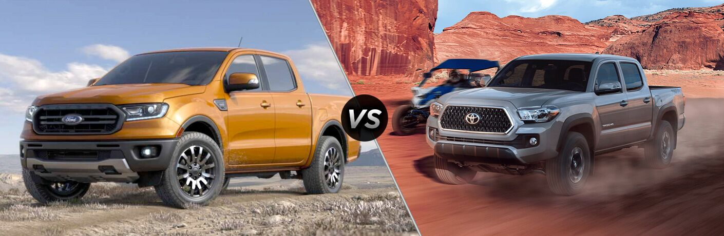 Orange 2019 Ford Ranger on a Trail vs Gray 2019 Toyota Tacoma on a Desert Trail