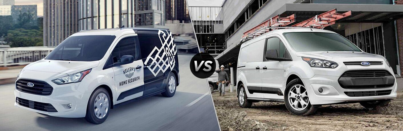 Black and White 2019 Ford Transit Connect vs White 2018 Ford Transit Connect
