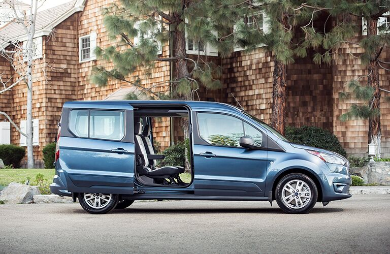Side View of Blue 2019 Ford Transit Connect Passenger Wagon