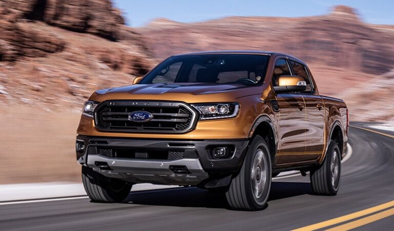Gold 2019 Ford Ranger on a Highway