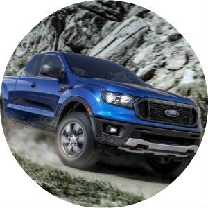 Blue 2019 Ford Ranger on a Rocky Trail