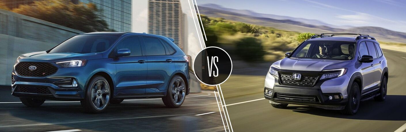Blue 2019 Ford Edge ST on a Freeway vs Gray 2019 Honda Passport on Desert Highway