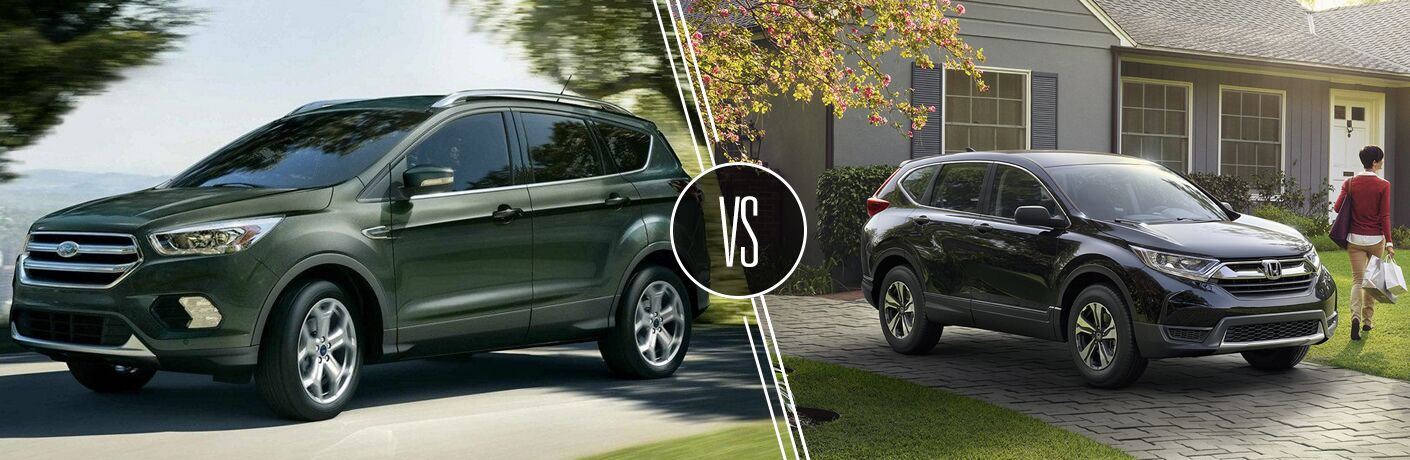 Green 2019 Ford Escape on a Country Road vs Blue 2019 Honda CR-V in a Driveway