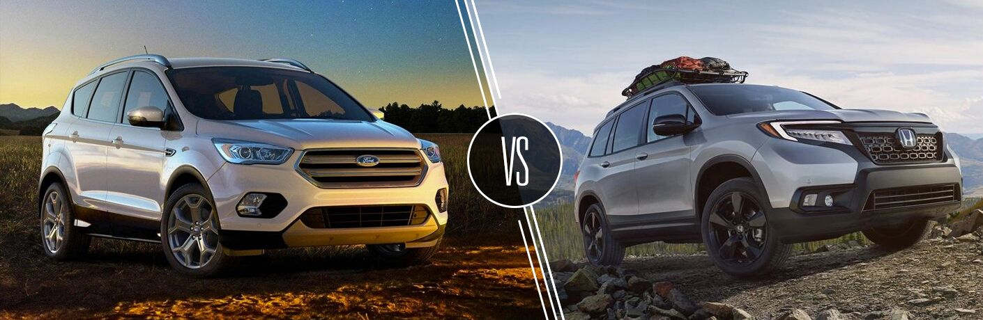 Silver 2019 Ford Escape in a Field at Dusk vs Gray 2019 Honda Passport on a Rocky Trail