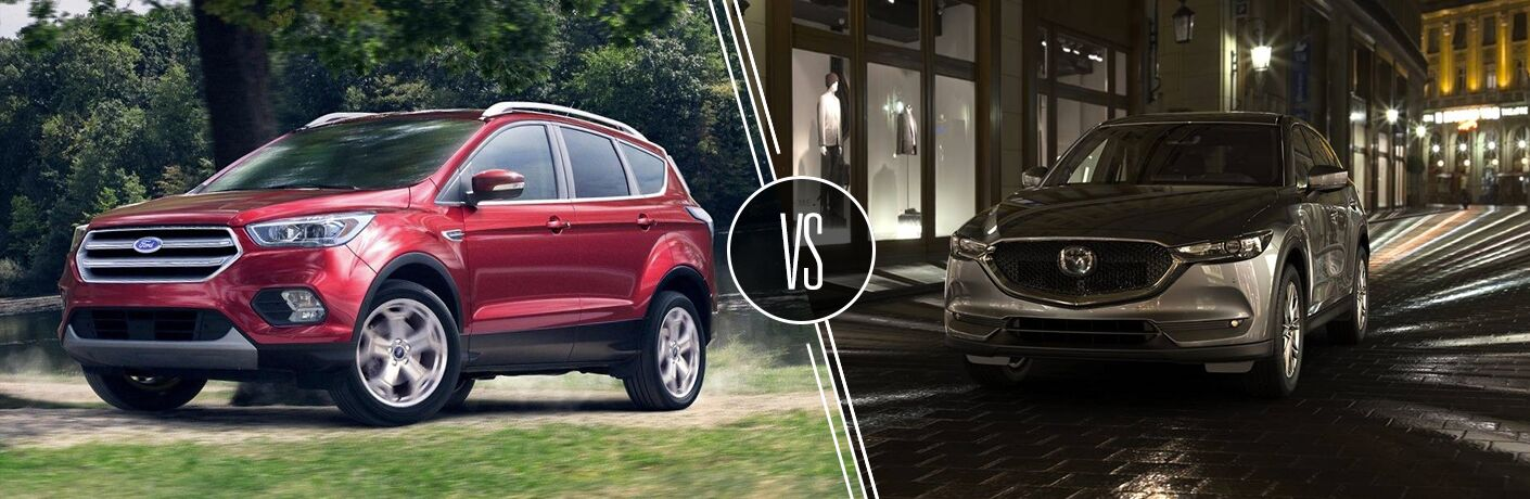 Red 2019 Ford Escape on a Country Road vs Gray 2019 Mazda CX-5 on a City Street