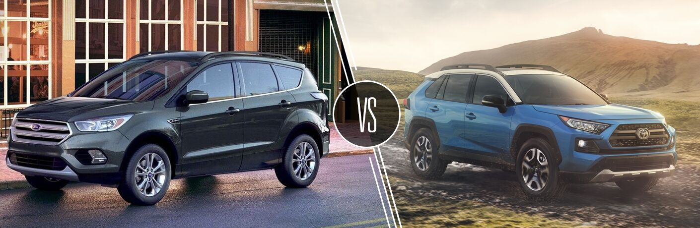 Green 2019 Ford Escape on a City Street vs Blue 2019 Toyota RAV4 on a Dirt Road