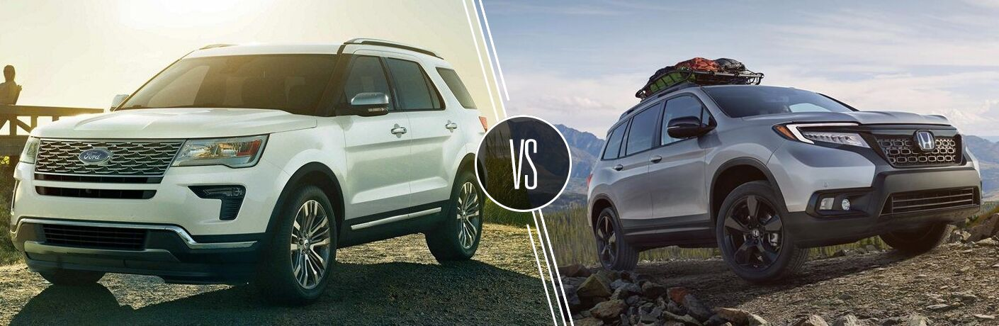 White 2019 Ford Explorer on a Country Road vs Gray 2019 Honda Passport on a Rocky Trail