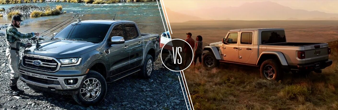 Gray 2019 Ford Ranger Next to River with Fisherman vs Silver 2020 Jeep Gladiator in a Field at Sunset