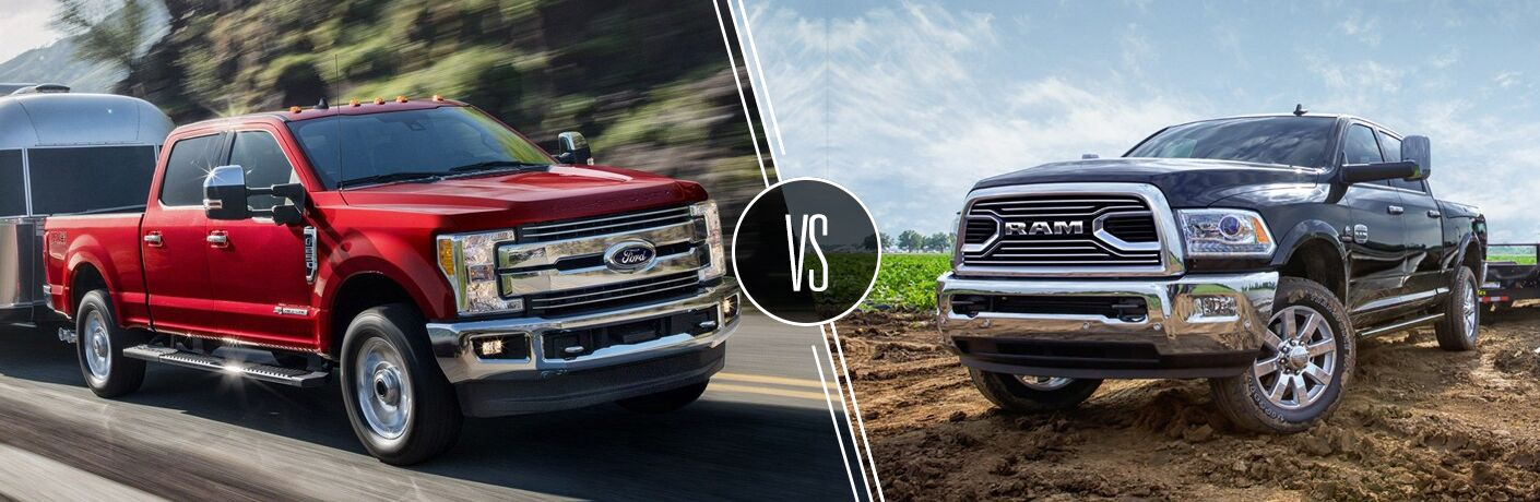 Red 2019 Ford F-250 Super Duty Towing a Trailer on the Highway vs Black 2019 Ram 2500 in a Field