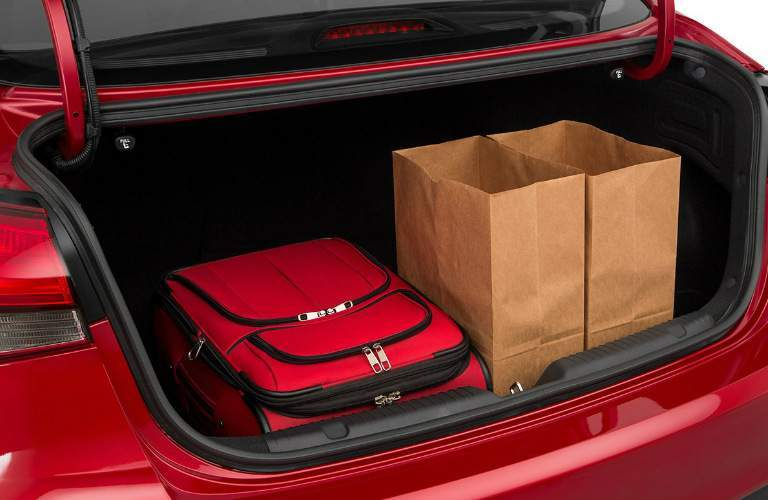 2018 Kia Forte trunk filled with luggage and groceries