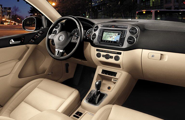 Tan 2017 VW Tiguan Front Seat and Dashboard