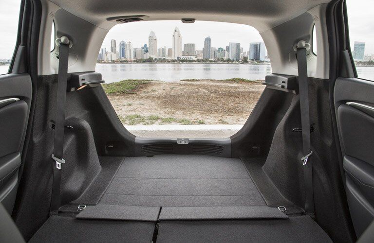 2017 Honda Fit rear cargo area with seats folded down