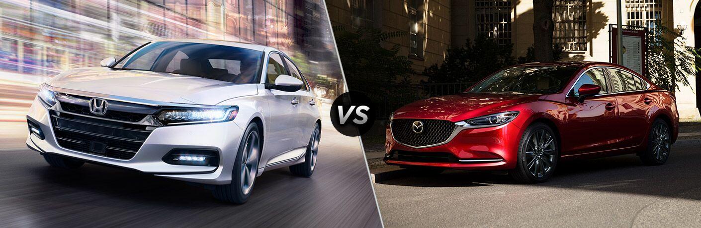 2018 Honda Accord in White vs 2018 Mazda6 in Red