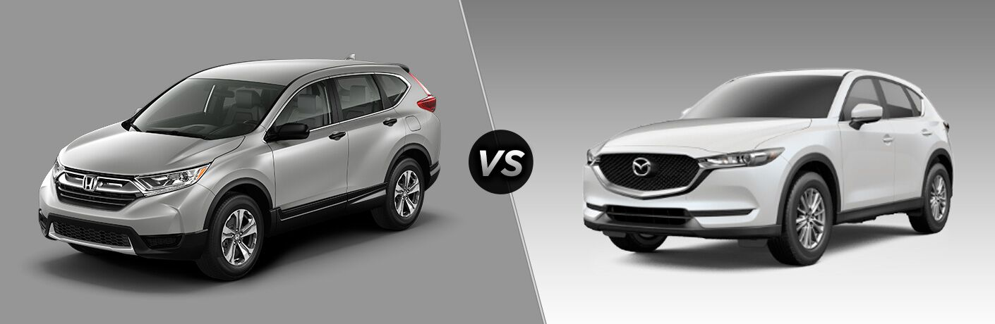 2018 Honda CR-V in Silver vs 2018 Mazda CX-5 in White