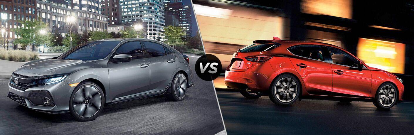 2018 Civic Hatchback in Silver vs 2018 CX-3 in Red