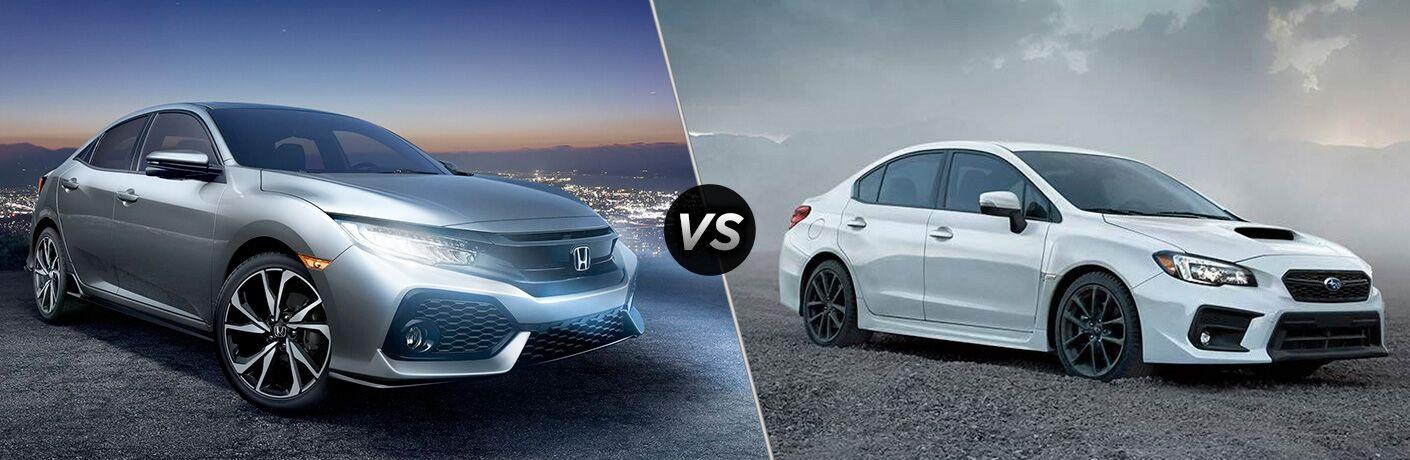 2018 Honda Civic Hatchback in Silver vs 2018 Subaru WR-X in White