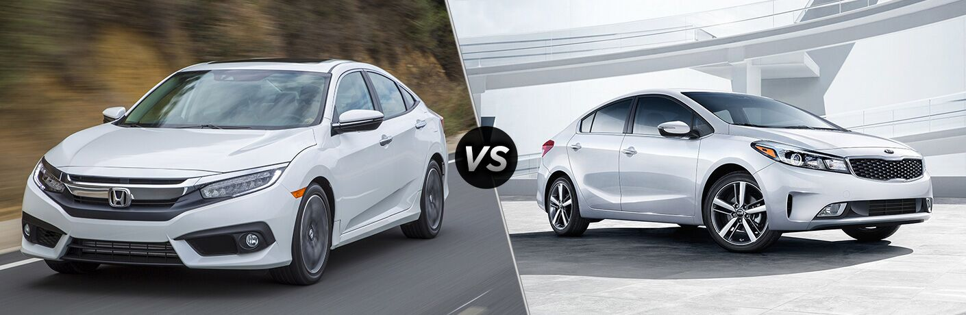 2018 Honda Civic Sedan in White vs 2018 Kia Forte in White
