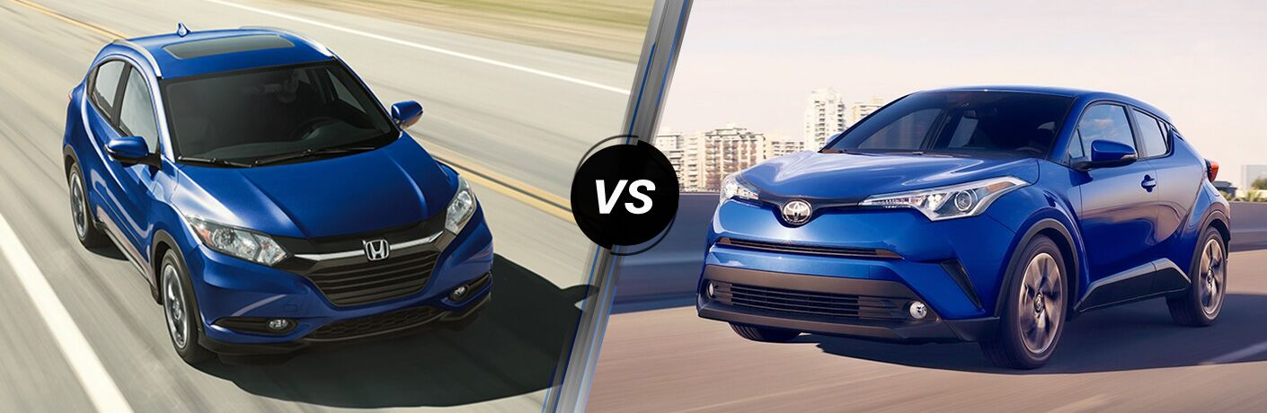 2018 Honda HR-V in Blue vs 2018 Toyota CH-R in Blue