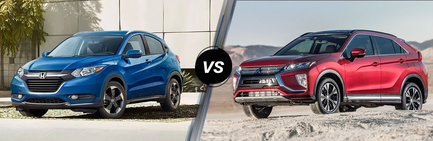 2018 Honda HR-V in Blue vs 2018 Mitsubishi Eclipse Cross in Red