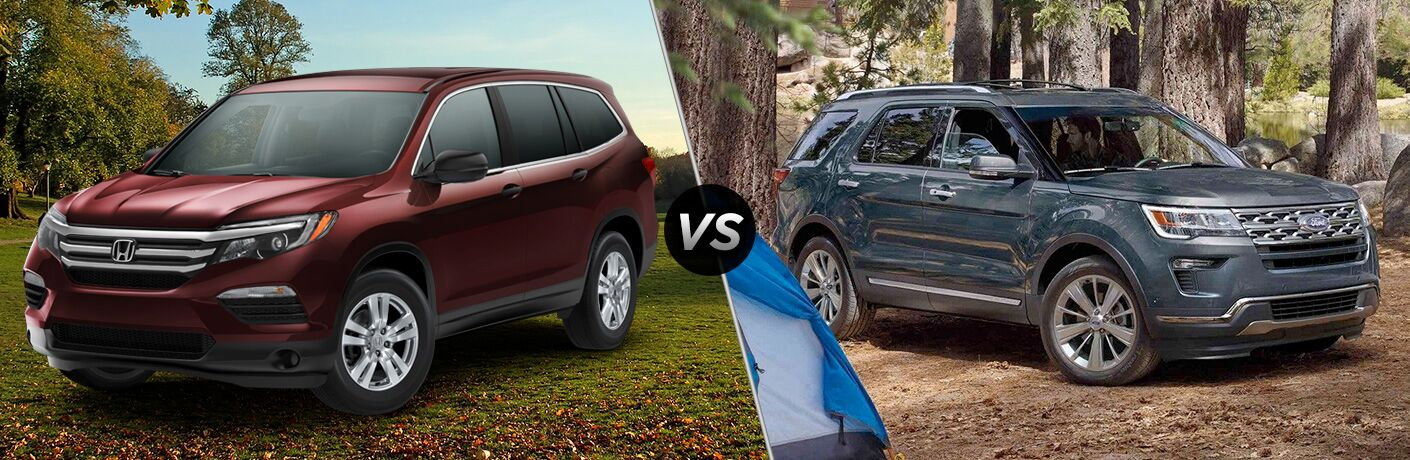 2018 Honda Pilot in Maroon vs 2018 Ford Explorer in Blue