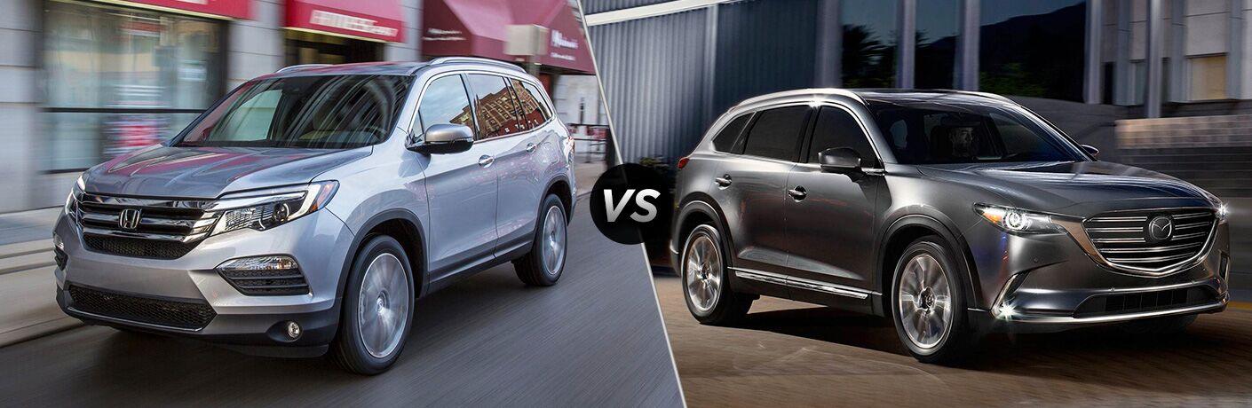 2018 Honda Pilot in Silver vs 2018 Mazda CX-9 in Silver