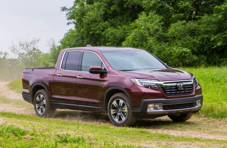 2018 Ridgeline in Red Front Side View