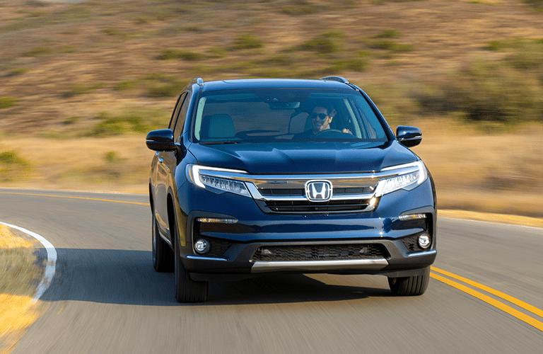 2019 Honda Pilot blue front view