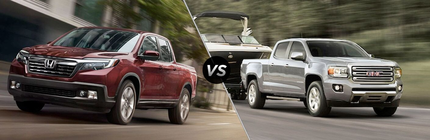 2019 Honda Ridgeline in Maroon vs 2019 GMC Canyon in Silver