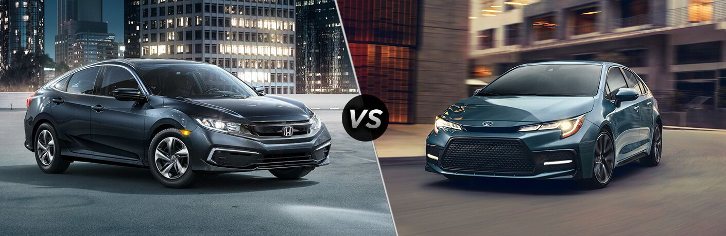 A side-by-side comparison of the 2020 Honda Civic vs. 2020 Toyota Corolla.