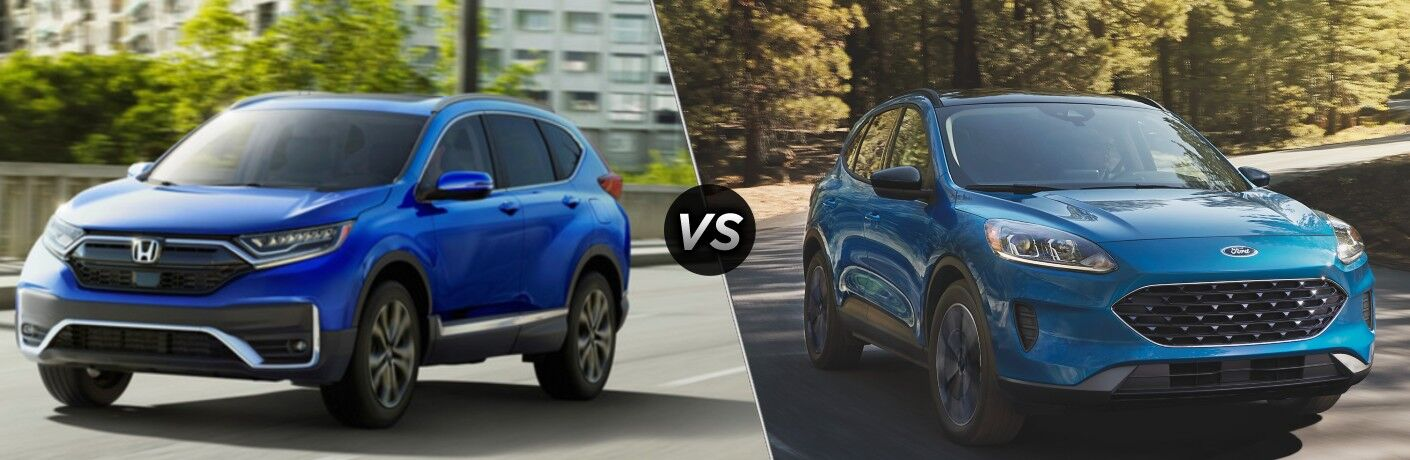 Blue 2021 Honda CR-V on a City Street vs Blue 2021 Ford Escape on a Country Road