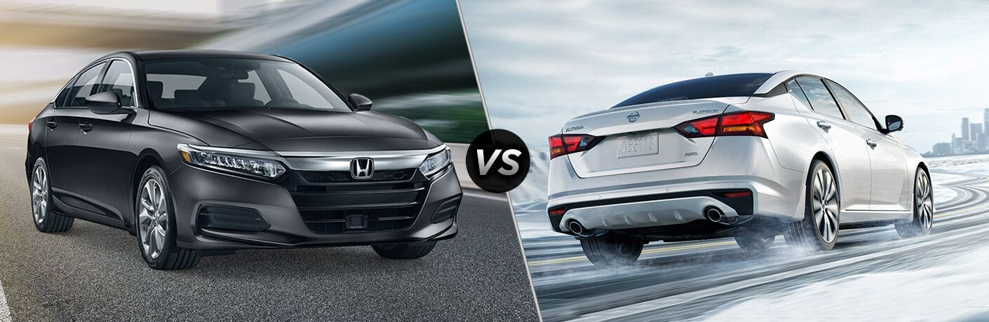 A side-by-side comparison of the 2019 Honda Accord vs. 2019 Nissan Altima.