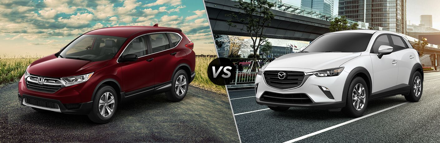A side-by-side comparison of the 2019 Honda CR-V vs. 2019 Mazda CX-3.