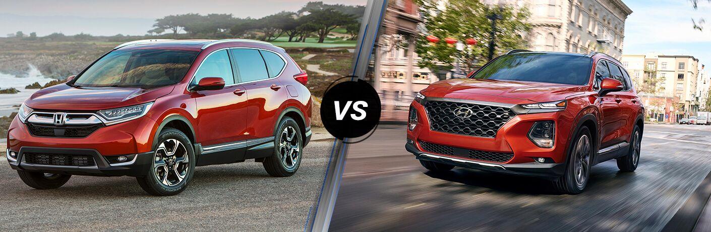 A side-by-side comparison of the 2019 Honda CR-V vs. 2019 Hyundai Santa Fe.