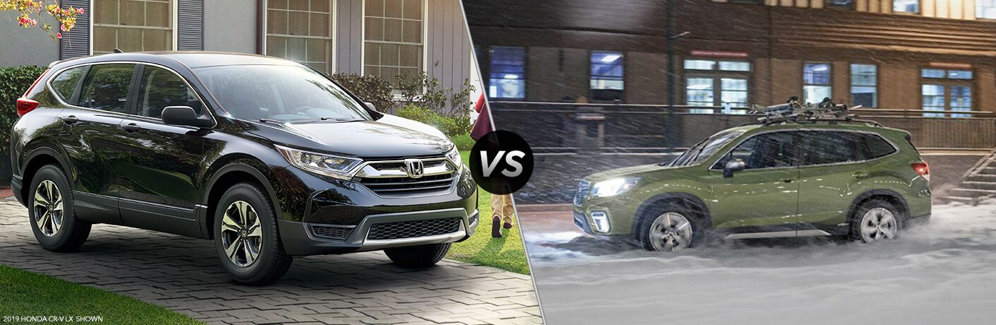 A side-by-side comparison of the 2019 Honda CR-V vs. 2019 Subaru Forester.