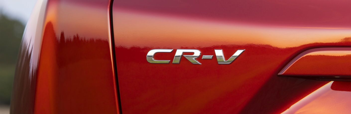 A close up photo of the CR-V badge used on the 2019 Honda CR-V.