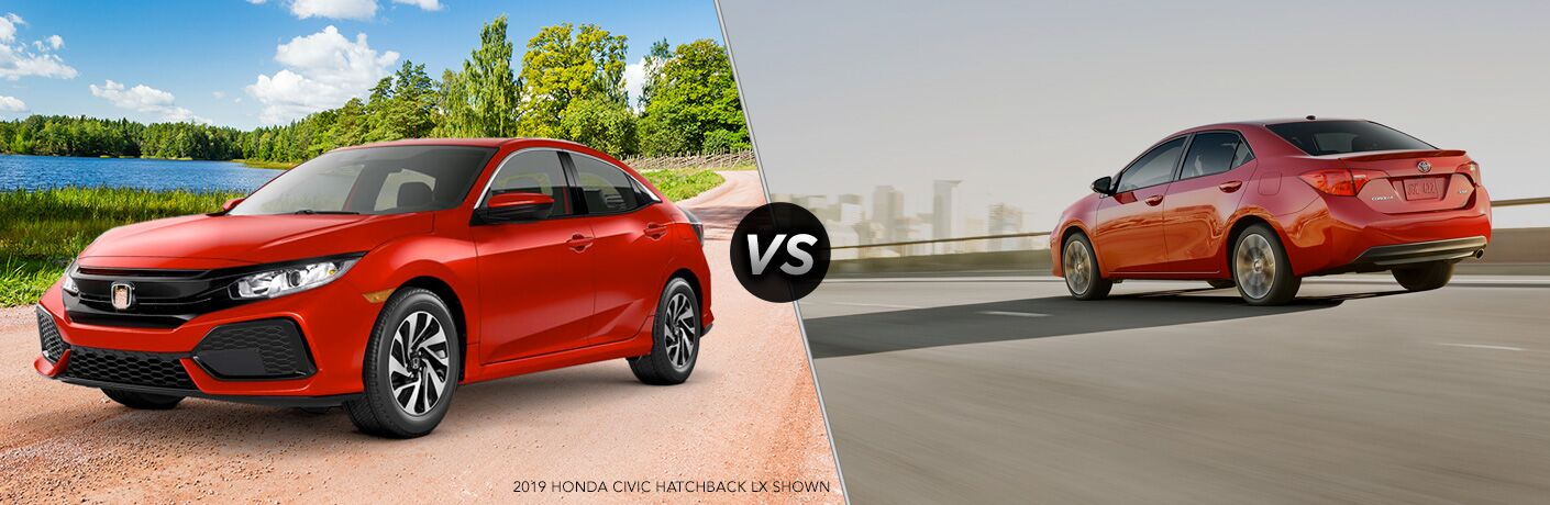 A side-by-side comparison of the 2019 Honda Civic Hatchback vs. 2019 Toyota Corolla.