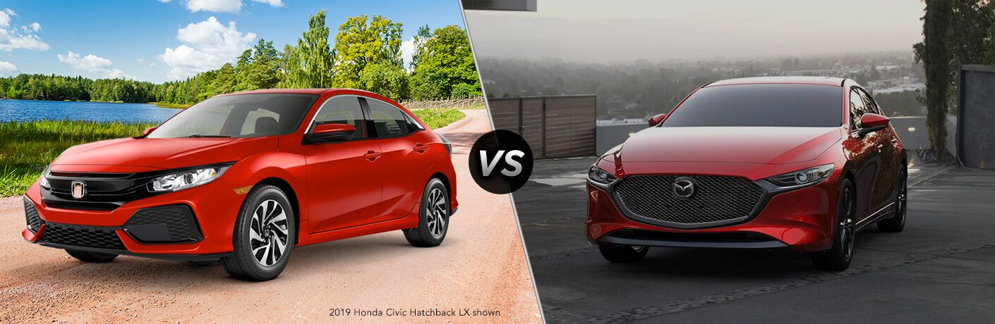 A side-by-side comparison of the 2019 Honda Civic Hatchback vs. 2019 Mazda3 Hatchback.