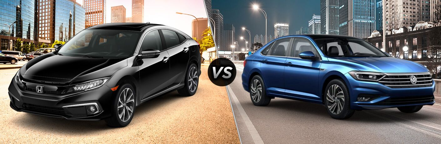 A side-by-side comparison of the 2019 Honda Civic Sedan vs. 2019 Volkswagen Jetta.