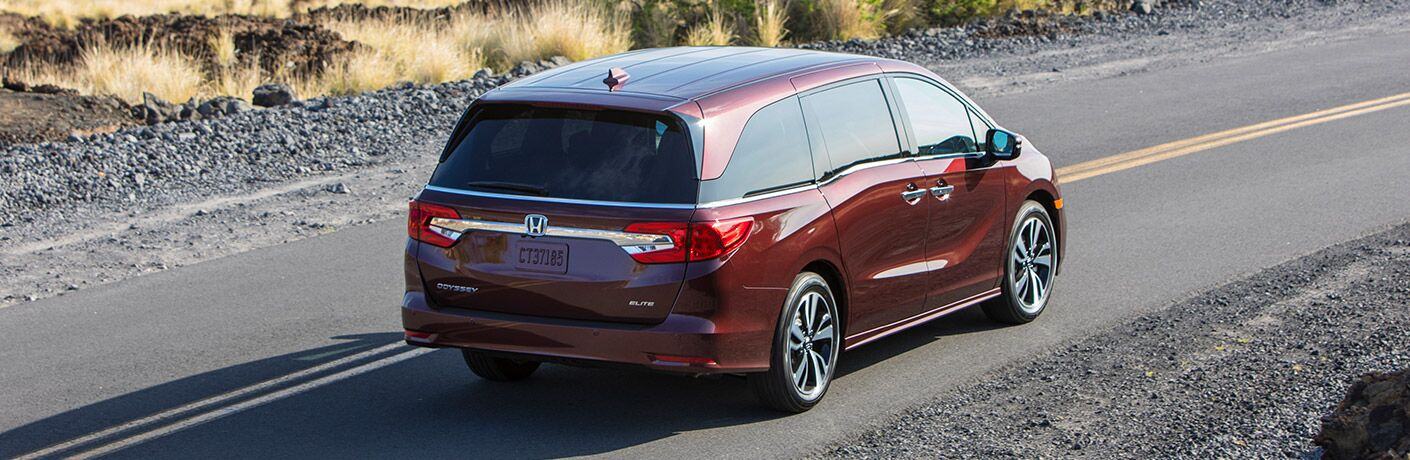 An overhead rear right quarter photo of the 2019 Honda Odyssey.