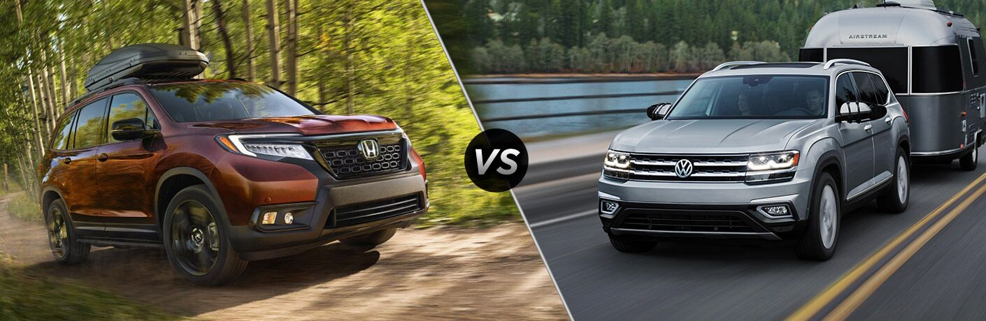 A side-by-side comparison of the 2019 Honda Passport vs. 2019 Volkswagen Atlas.