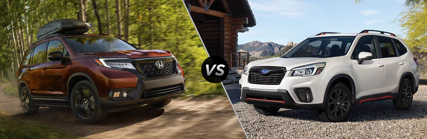 A side-by-side comparison of the 2019 Honda Passport vs. 2019 Subaru Forester.