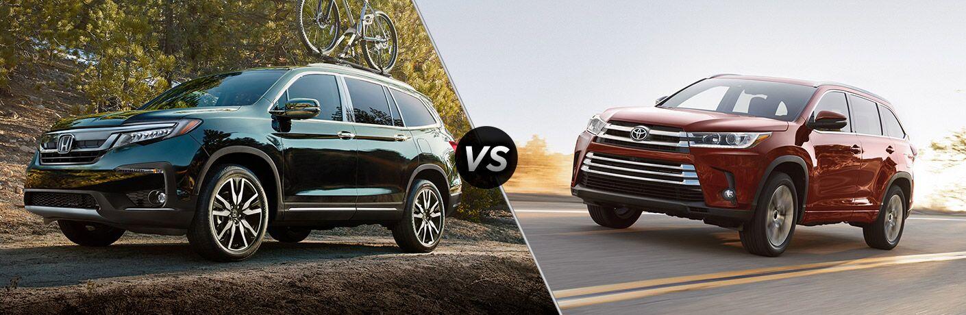A side-by-side comparison of the 2019 Honda Pilot Elite vs. 2019 Toyota Highlander.