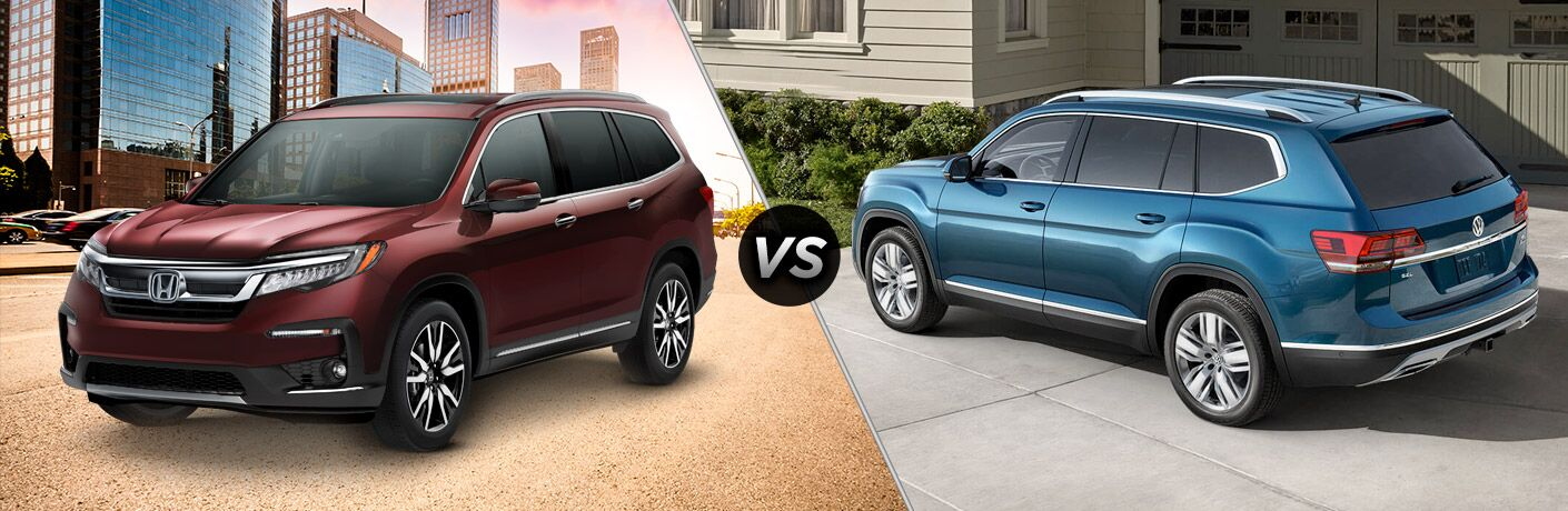 A side-by-side comparison of the 2019 Honda Pilot vs. 2018 Volkswagen Atlas.