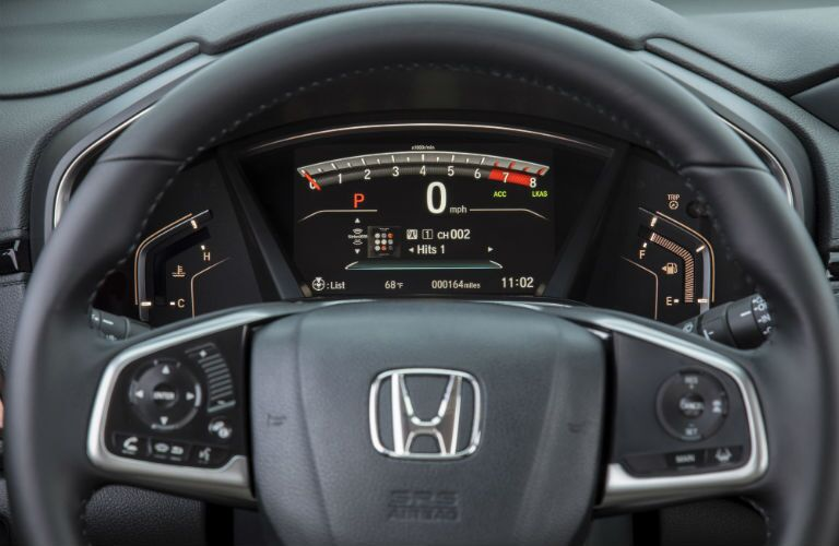 An interior photo showing the center gauge cluster in the 2019 Honda CR-V.