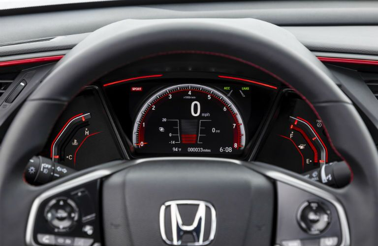 A photo of the gauge cluster used in the 2020 Honda Civic Si.